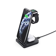 Đế sạc nhanh không dây chuẩn Qi 10W kèm Adapter sạc QC3.0 18W 3 trong 1 cho iWatch 5 4 3 2 1, AirPods Pro 2 1 và iPhone 12 11 Pro Max XR X 8 Plus 8 - Hàng chính hãng thumbnail