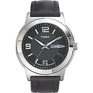 Timex Men s T2E561 Bank Street Black Leather Strap Watch thumbnail