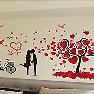 Decal dán tường đôi uyên ương và cây trái tim xl8151 thumbnail