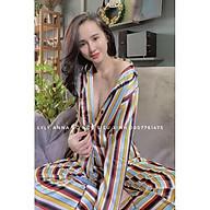 Bộ đồ ngủ, đồ bộ Pijama lụa nữ mặc satin tay dài quần dài phối họa tiệt đẹp mắt thumbnail