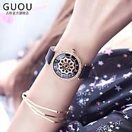 Đồng hồ nữ đeo tay dây da Guou viền đính đá mạ vàng chính hãng chống nước tuyệt đối thumbnail