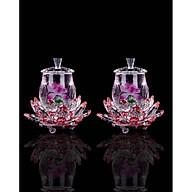 combo 2 chiếc Ly Nước Thờ ly hoa sen tím đế fa lê đỏ KH17017 thumbnail