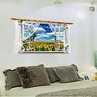Decal dán tường cửa sổ phong cảnh cánh đồng hoa hướng dương sk thumbnail