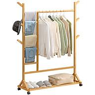 Giá kệ treo quần áo đa năng VANGO V5 bằng gỗ tre tự nhiên cao cấp, Phong cách nội thất Bắc Âu hiện đại sang trọng, sơn phủ bóng chống nước chống ẩm mốc cực tốt thumbnail