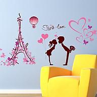 Decal dán tường trang trí phòng khách, quán cafe- Tháp efen hồng- mã sp DLV0629 thumbnail