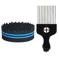 Hair Brush Sponge with Big Holes Metal Hair Pick Comb Double-sided Sponge Afro Comb for Hair Styling thumbnail