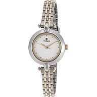 Titan Women s 2521BM01 Contemporary Silver Metal Strap Watch thumbnail