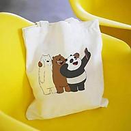 Túi tote vải bố đeo vai canvas Gấu We Bare BearsT6 PHONG CÁCH AOMI thumbnail