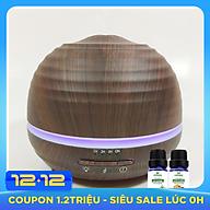 Máy khuếch tán bí tròn vân gỗ tối FX2037 + Tinh dầu sả chanh + Tinh dầu bưởi chùm Lorganic (10mlx2) thumbnail
