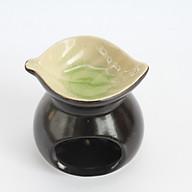 Đèn nến xông tinh MD010 Kepha. Đèn nến hình tròn, đĩa đựng tinh dầu hình chiếc lá. Gốm sứ bát tràng cao cấp thumbnail