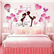 Decal dán tường cặp trái tim và cặp đôi hồng - HP206 thumbnail