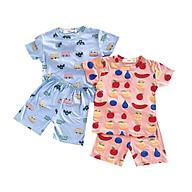 Đồ bộ cộc tay cho bé trai và bé gái chất thun lạnh QATE658 thumbnail