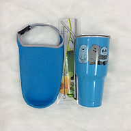 Ly giữ nhiệt Thái Lan 900 ml _ tặng 2 ống hút inox + 1 túi xách + 1 cọ rửa ống hút _ gấu xanh thumbnail