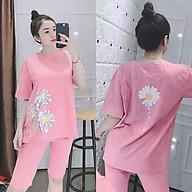 Đồ bộ mặc nhà - đồ bộ lửng nữ in hình hoa cúc siêu hot thun cotton mát mịn thumbnail
