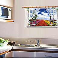 decal dán tường cửa sổ luống hoa sk thumbnail