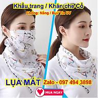 Khẩu trang kèm khăn che cổ bằng vải lụa mát, chống nắng mặt & cổ mát rượi thumbnail