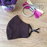 Khẩu trang thêu tay vải linen (Hand Embroidery Mask) berry - Màu Nâu thumbnail