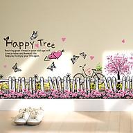 Decal trang trí dán tường hàng rào hoa bướm lãng mạn ZOOYOO XL7080 thumbnail