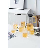 Bộ bình đựng nước kèm 6 côc thủy tinh trắng vân nhám cao cấp - ANTH342 thumbnail