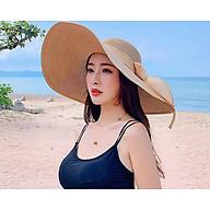 Mũ cói rộng vành thắt nơ bản to phong cách Hàn, nón đi biển vành rộng cao cấp thumbnail