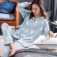 Bộ Đồ Pyjama Bầu Và Sau Sinh Dài Tay Az9446 Chất Liệu 100%Cotton Họa Tiết Hoa Cúc Dễ Thương Có Thiết Kế Cho Bé Ti thumbnail