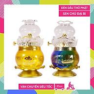 Đèn dầu lưu ly Chú Đại Bi đèn thờ cúng Phật Giáo cao cấp - Cao 16cm thumbnail
