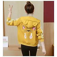 Áo khoác nữ phối 2 sọc tay in mặt mèo nữ tính - Vàng thumbnail