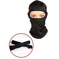Combo Khăn trùm đầu Ninja Fullface + Găng Tay Chống Nắng Xỏ Ngón màu đen thumbnail