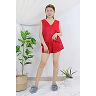 FEMEI - Đồ bộ mặc nhà Áo dây sát nách quần ngắn voan tơ Nhật BNC005 thumbnail