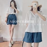 Set bộ nữ S.060, Set áo babydoll cổ V pha ren họa tiết cùng quần short xanh thumbnail