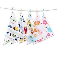 Combo 10 khăn yếm tam giác có 2 cúc bấm cố định hai đầu khăn cho bé - Màu ngẫu nhiên thumbnail
