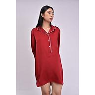 Áo ngủ lụa Pijama Pink Stull đỏ đô viền trắng thumbnail