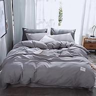 Bộ vỏ chăn drap gối cotton TC một màu (Xám nhạt) free size thumbnail