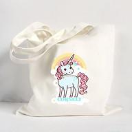 Túi vải đeo vai Tote Bag in hình Kỳ Lân Cornely - Màu trắng - MS ABXDANH006 thumbnail