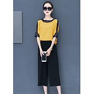 Set bộ dạo phố áo viền đen quần ống rộng màu vàng GOTI1154255 thumbnail