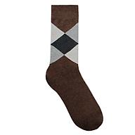 Tất vớ nam dài cao cấp chất liệu cotton họa tiết quả trám hiện đại màu nâu thumbnail