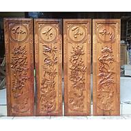 Tranh tứ quý XUÂN HẠ THU ĐÔNG gỗ Gõ đỏ 30x127cm thumbnail