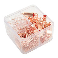 Boxed Rose Gold Metal Binders Paperclips Paperclips Set School Office Supplies thumbnail