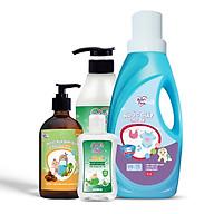Combo chăm sóc bé Nước giặt Enzym 1L + Nước rửa rau củ và bình sữa 500ml + Tắm gội Trầu Không và Tràm Trà 500ml + Gel rửa tay khô cho bé 100ml BuB&MuM thumbnail