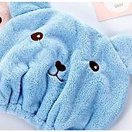 Khăn tắm trùm đầu, khăn ủ tóc, khăn làm khô tóc hình gấu thumbnail