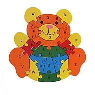 Tranh Ghép Gỗ Cần Cẩu tác dụng 5 trong 1 tư duy lắp ghép, học chữ, học số, học màu, học nhận biết Con gấu thumbnail