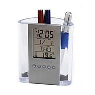 Hộp đựng bút kiêm đồng hồ để bàn V2 (Tặng kèm quạt mini cắm cổng USB vỏ nhựa giao màu ngẫu nhiên) thumbnail