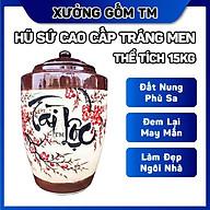 Hủ sứ đựng gạo, ngâm rươu, chứa thực phẩm khô gốm sứ Bát Tràng chữ Tài Lộc nắp nhọn thumbnail