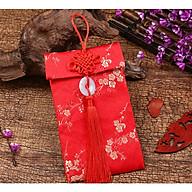 Bao lì xì gấm đỏ cao cấp đính ngọc bội họa tiết rồng,hoa mai thịnh vượng may mắn thumbnail