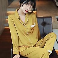Pijama- Bộ Ngủ lụa cao cấp quý phái áo quần dài màu xanh đỏ vàng LDD00 thumbnail