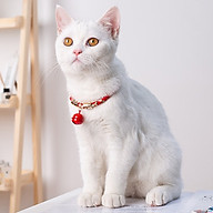 Vòng chuông đeo cổ chó mèo phong cách cổ điển dây thun co giản [tặng móc dán tường treo đồ] thumbnail