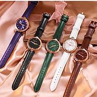 Đồng hồ nữ đeo tay dây da Guou viền mạ vàng chính hãng chống nước tuyệt đối 6006 thumbnail