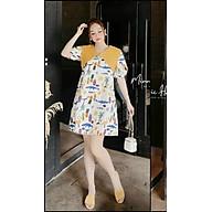 váy suông nữ,đầm suông nữ hoa quả cổ V tay bồng xinh xắn thumbnail