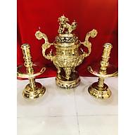 Bộ đỉnh đồng thờ cúng tam sự rồng vàng(đôi nến) thumbnail