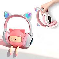 Tai nghe Bluetooth tai mèo đáng yêu có mic đàm thoại cao cấp, tai nghe mèo có đèn phát sáng cute tai nghe tai mèo thời trang, headphone Bluetooth đáng yêu có thể sử dụng khi chơi các tựa game online thumbnail
